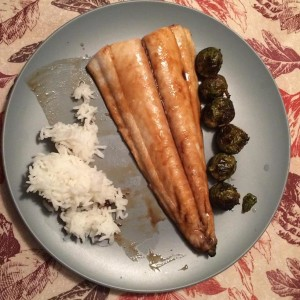 Maple-glazed spanish mackerel