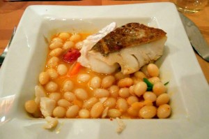 Flounder with fava beans and chorizo